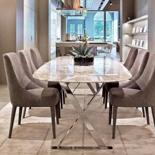 میز ناهارخوری 6 نفره پایه فلزی و رویه سنگ طبیعی