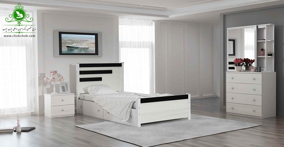 تصویر تخت خواب یک نفره رادو | فروشگاه اینترنتی چوب چوب