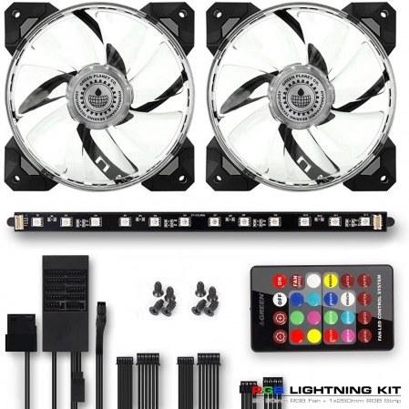 کیت RGB نورپردازی داخل سیستم شامل 2 عدد فن و 1 عدد نوار گرین |