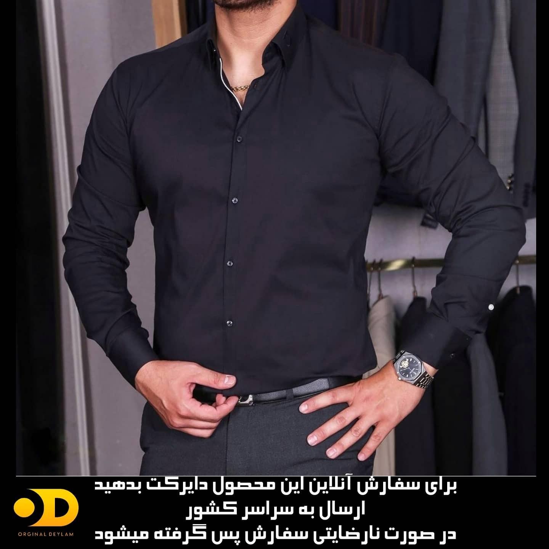 تصویر پیراهن مردانه مجلسی مشکی - M