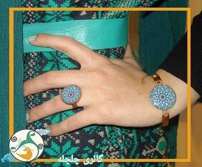 عکس دستبند و انگشتر مسی طرح اسلیمی  دستبند-و-انگشتر-مسی-طرح-اسلیمی