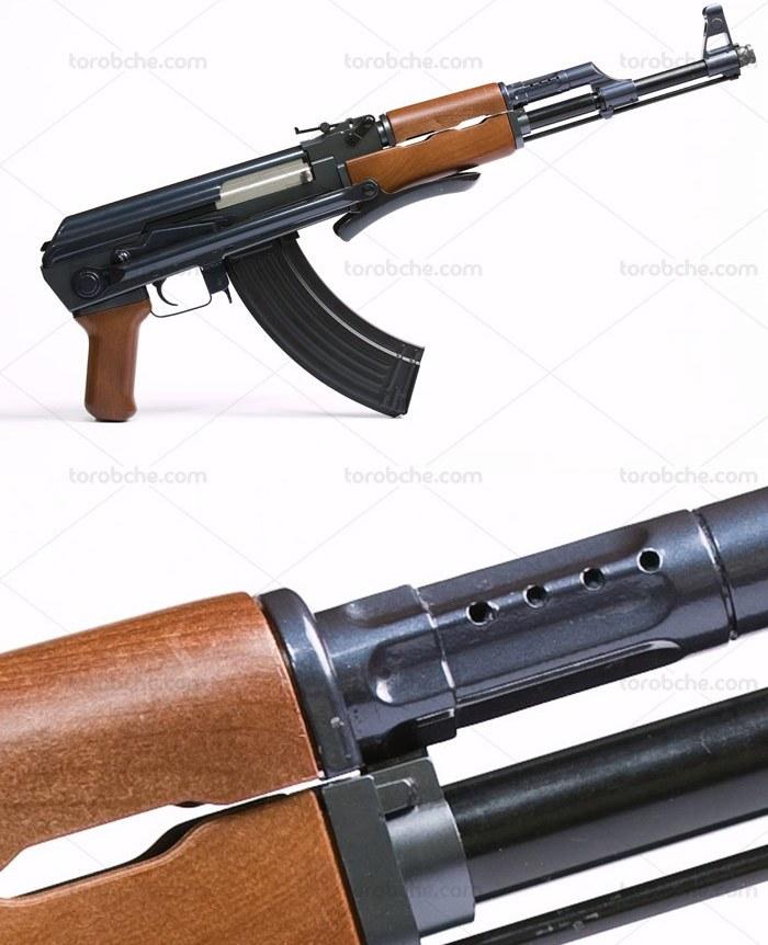 تصویر عکس با کیفیت اسلحه کلاشنیکف با زمینه سفید