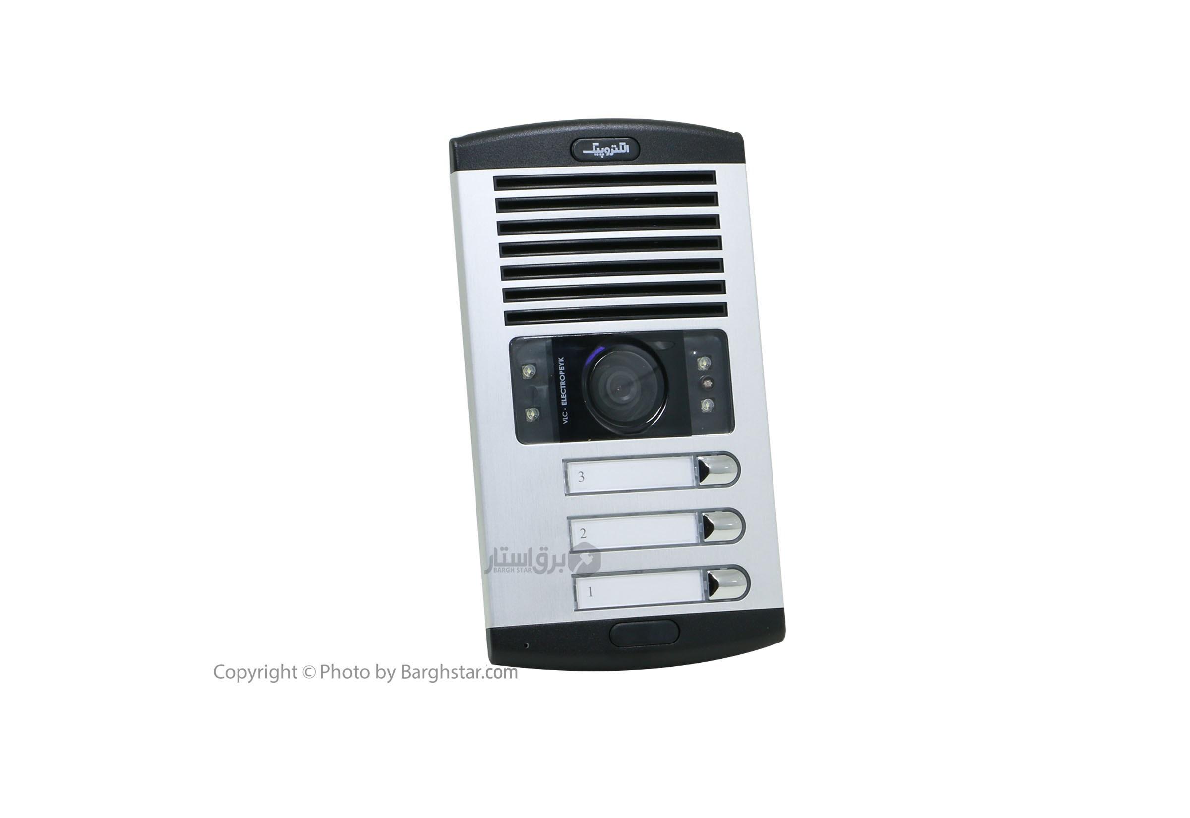 تصویر پنل آیفون تصویری الکتروپیک مدل 1086 سه واحدی با دوربین چرخشی