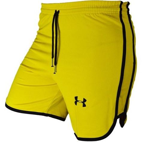 تصویر شلوارک ورزشی مردانه UNDER ARMOUR زرد DS خط مشکی