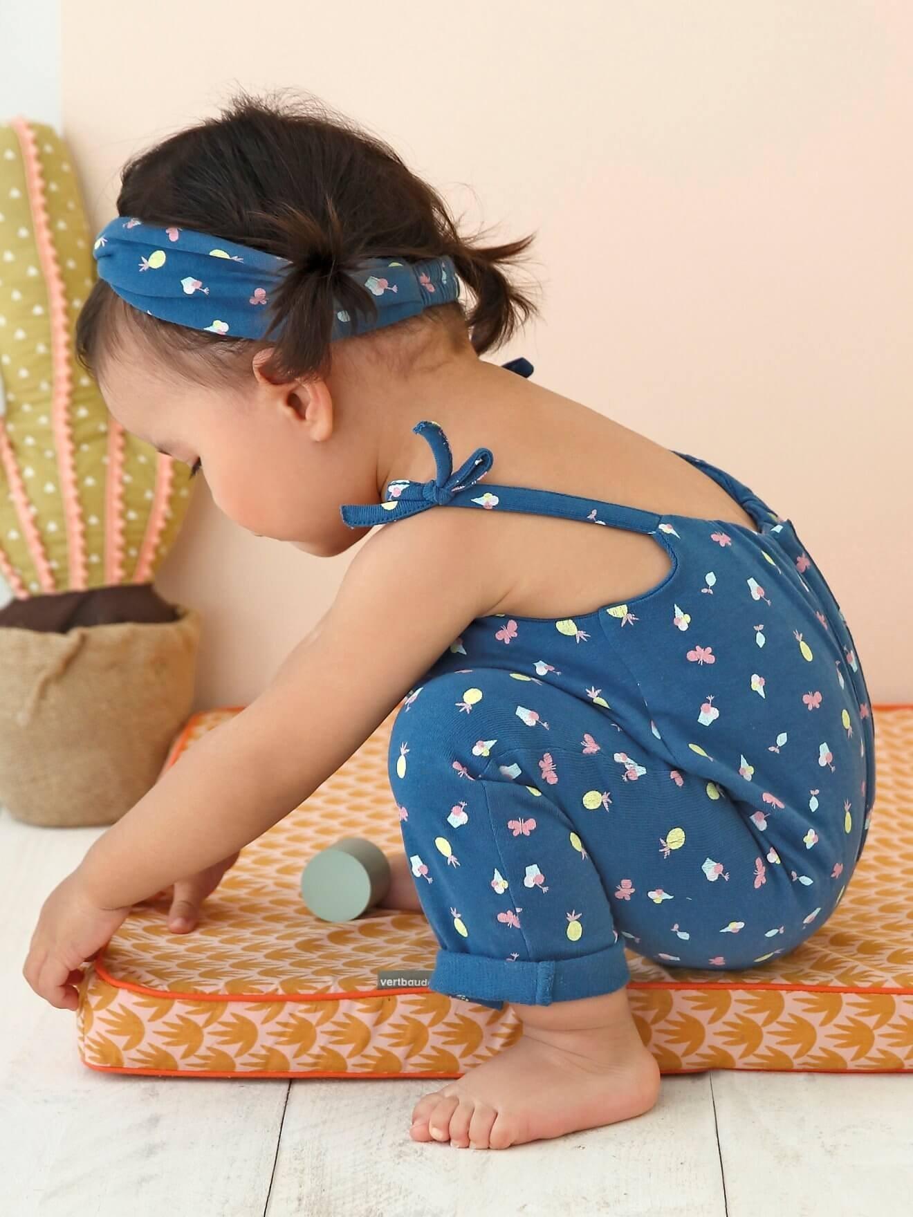 بچگانه - لباس کودک 2 تیکه سرهمی دخترانه  ورت فرانسه مدل petrol |