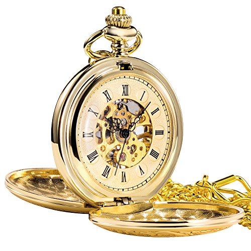 Treeweto Antique Mens Pocket Watch Skeleton Mechanical Golden Case Roman Numerals with Chain