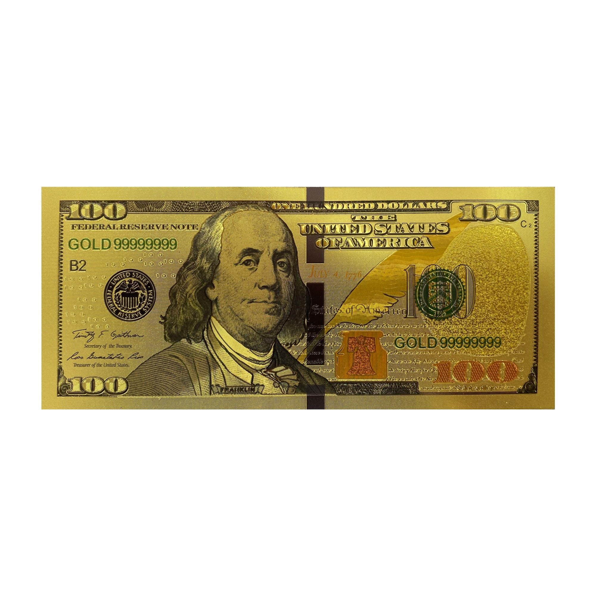 تصویر اسکناس 100 دلار  جدید آمریکا  روکش آب طلا