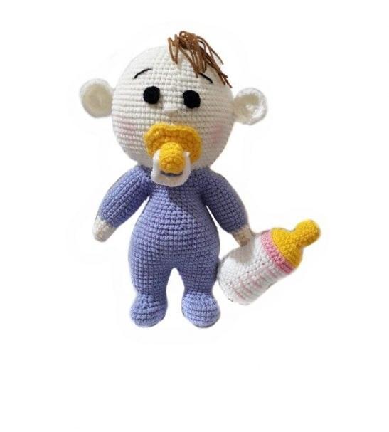 عروسک کاموایی نوزاد همراه با شیشه شیر