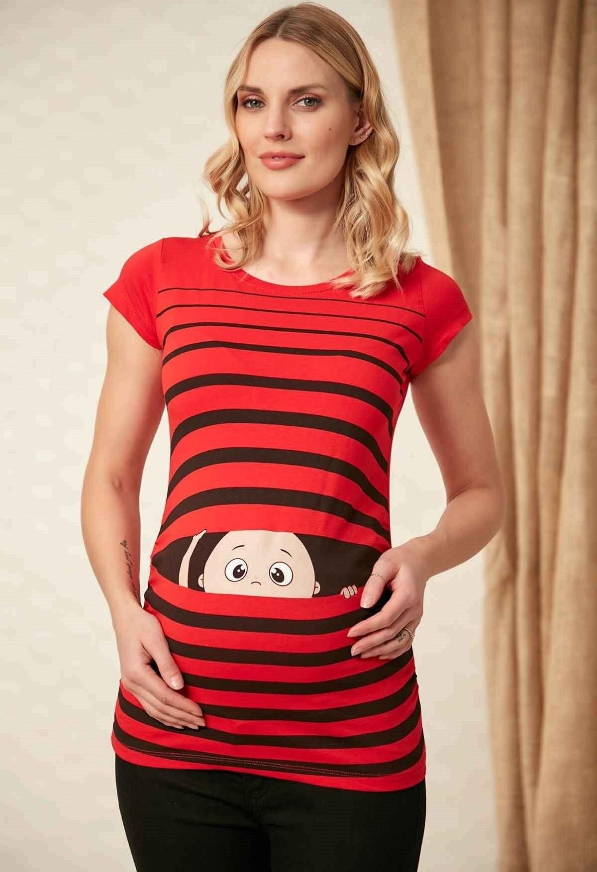 image تی شرت کودک بارداری چاپی قرمز برند Gör&Sin کد 1613197322
