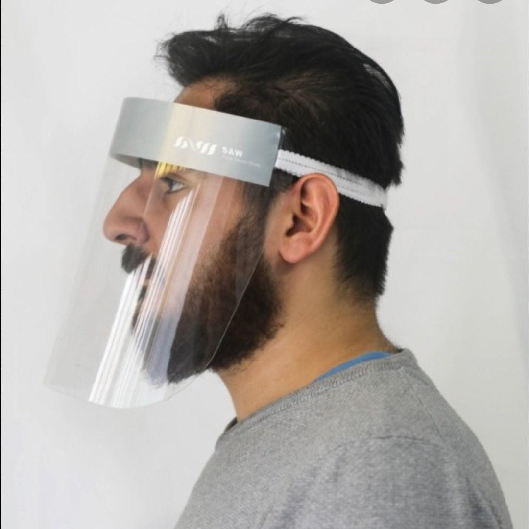 تصویر شیلد محافظ صورت طرح کش دار (ضد کرونا)