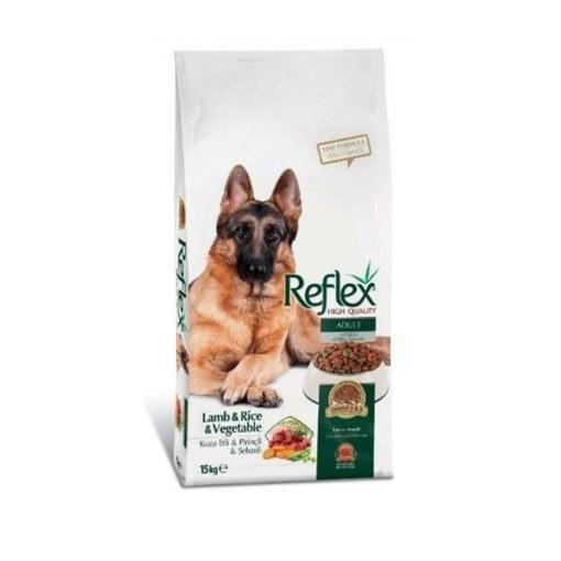 غذای خشک سگ بالغ، حاوی گوشت بره، برنج و سبزیجات، ۱۵ کیلوگرمی، برند رفلکس |