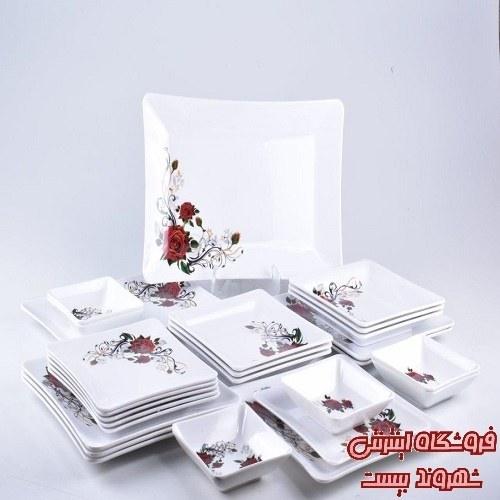 تصویر سرویس غذا خوری 41 پارچه ملامین ناز گل رز سرخ کدکالا 4128