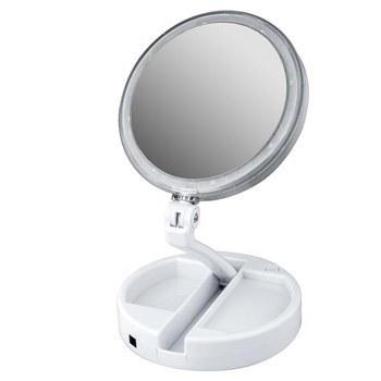 تصویر آینه آرایشی مدل چراغ دار با بزرگ نمایی Foldaway Mirror