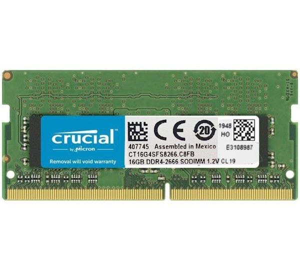 رم لپ تاپ DDR4 تک کاناله 2666 مگاهرتز CL19 کروشیال مدل CT16G4SFD8266 ظرفیت 16 گیگابایت