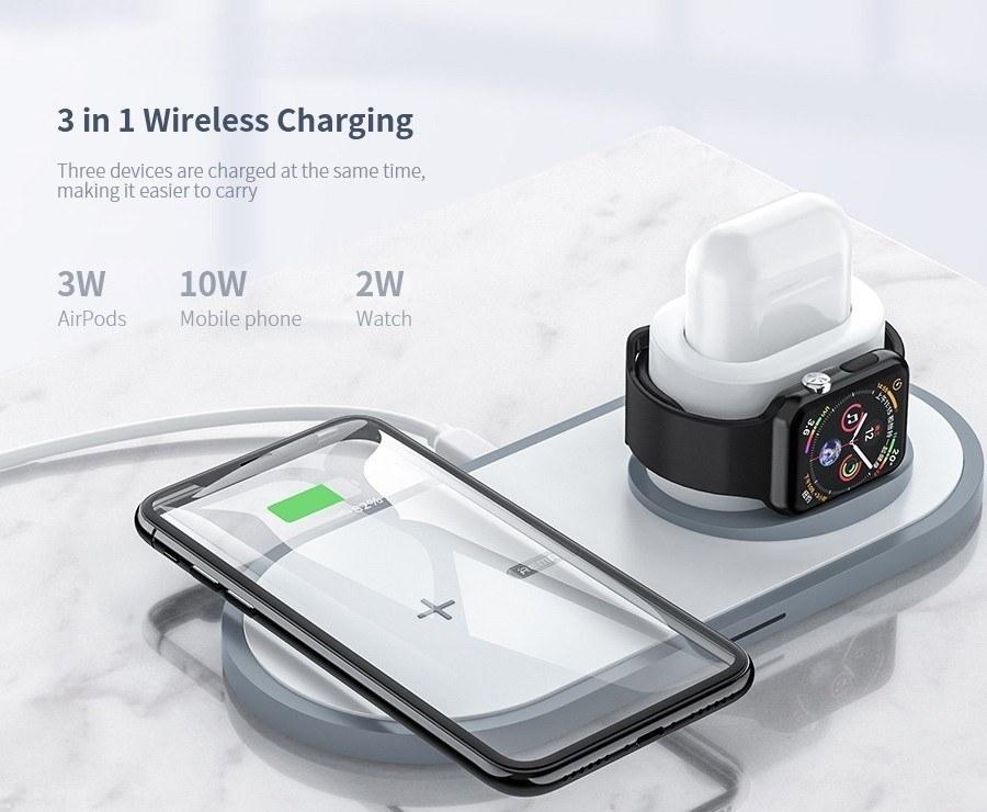 تصویر شارژر وایرلس شارژ سریع 10 وات ریمکس REMAX RP - W13 QI 3 in 1 Fast Charging Wireless Charger Base REMAX RP - W13 QI 3 in 1 Fast Charging Wireless Charger Base