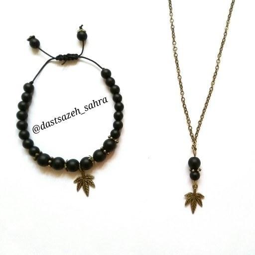 main images ست دستبند و گردنبند و جاکلیدی مردانه (زنانه) برگ