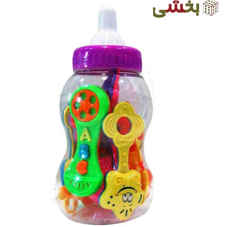 جغجغه نوزاد مدل شیشه شیر 8 عددی کد 3035