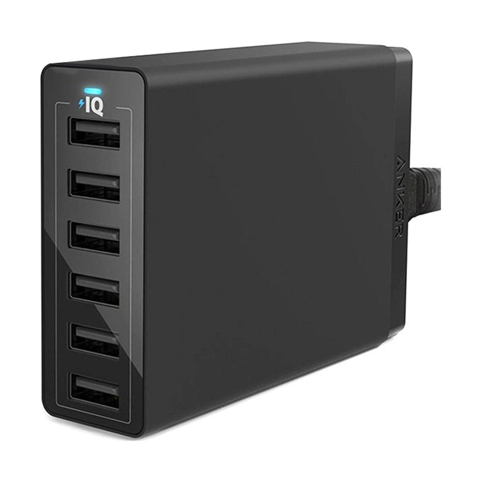 تصویر شارژر دیواری 60 وات 6 پورت انکر مدل A2123 Powerport 6 Anker A2123 PowerPort 6 60W 6-Port USB Wall Charger