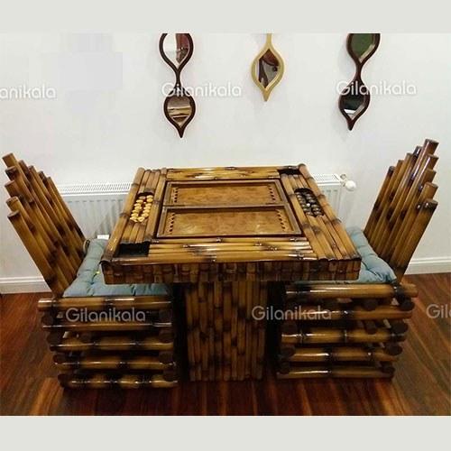 تصویر میز بازی بامبو+2 صندلی