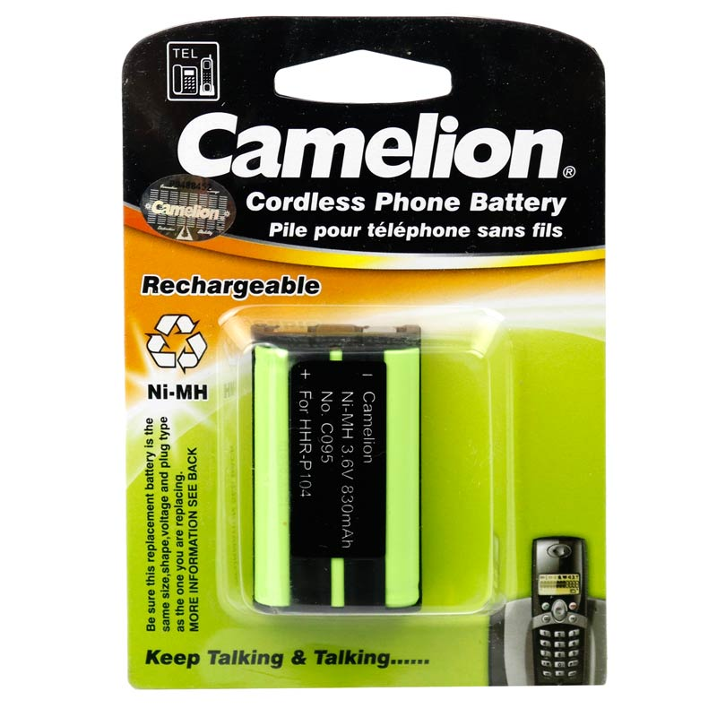 تصویر باتری تلفن قابل شارژ Ni-MH کملیون مدل C095 با ظرفیت 830 میلی آمپر ساعت همراه با جاسوییچی Camelion C095 830mAh Ni-MH Rechargeable Telephone Battery With Keychain
