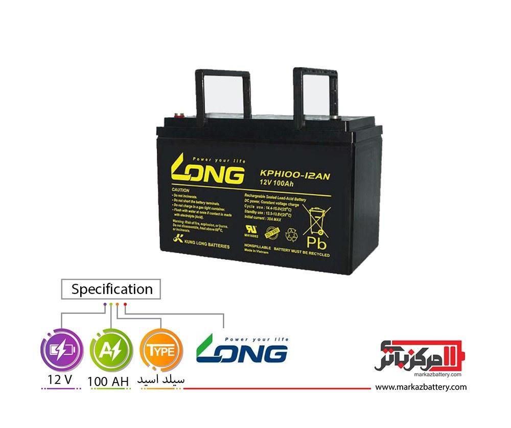 تصویر باتری یو پی اس 12 ولت 100 آمپر لانگ ا Long 100AH - 12V VRLA Battery Long 100AH - 12V VRLA Battery