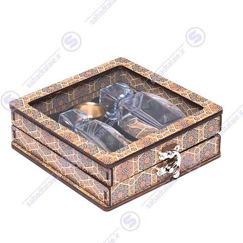 تصویر باکس چوبی شیشه ظرف زعفران 2 آذین و هاون