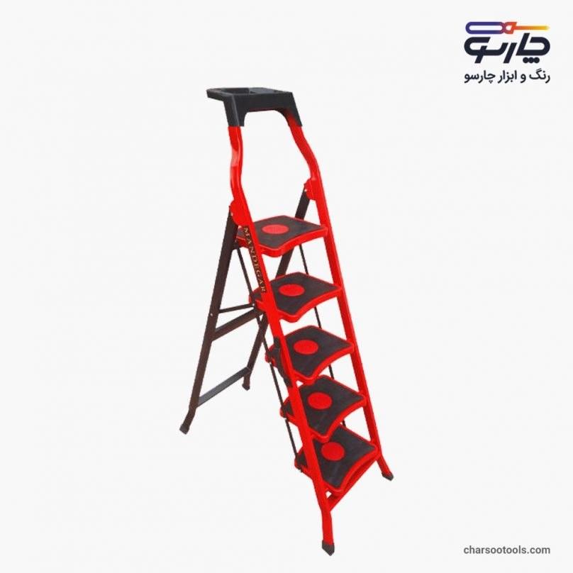 تصویر نردبان 5 پله  آهنی خانگی ماندگار مدل سما