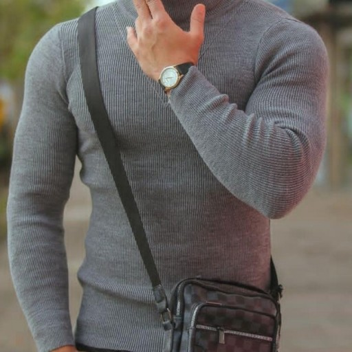 تصویر بافت مردانه یقه اسکی اندامی (کشی)