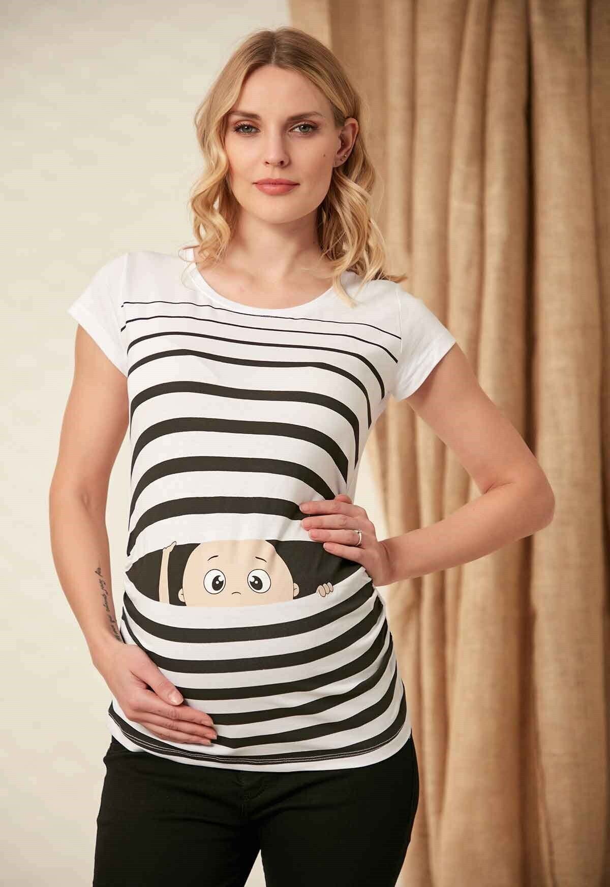 image تی شرت تیشرت بارداری کودک چاپی سفید برند Gör&Sin کد 1613197262