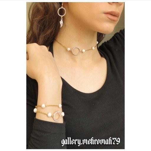 گردنبند و دستبند و گوشواره با مروارید پرورشی | ست  گردنبند و دستبند با مروارید پرورشی