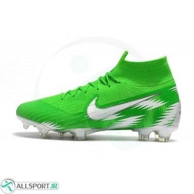کفش فوتبال نایک مرکوریال سوپرفلای ساقدار طرح اصلی سبز سفید Nike Mercurial Superfly VI 360 Elite Nigeria FG White Green