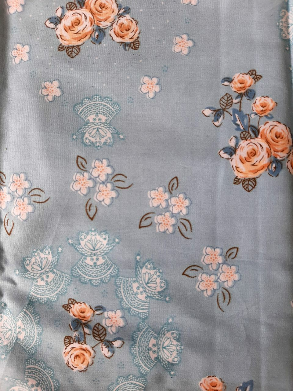 پارچه گل گلی آبی