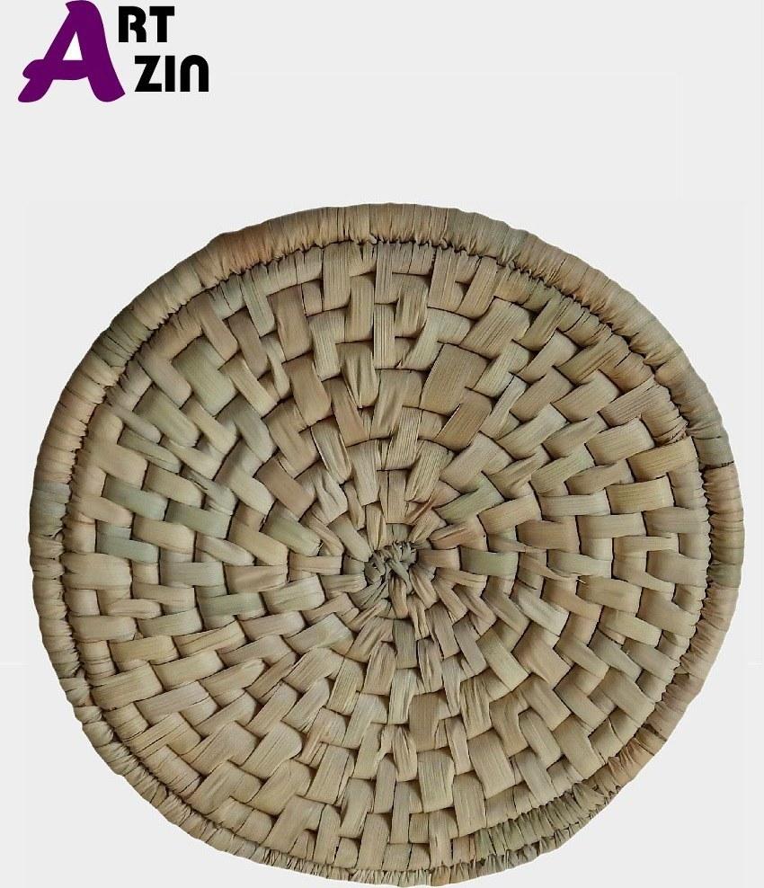 تصویر زیر بشقابی حصیری گرد بزرگ آجری با الیاف درخت نخل -  کد : 1-205