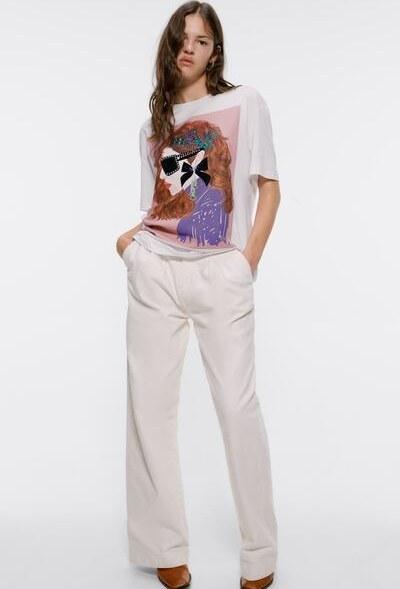 تی شرت آستین کوتاه زارا با کد 5410/706/WHITE ( T-SHIRT WITH FRONT PRINT )   تی شرت آستین کوتاه زنانه زارا