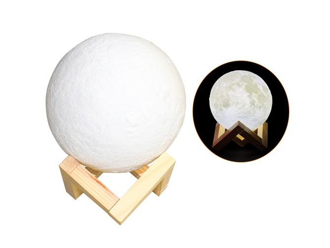 تصویر چراغ خواب طرح کره ماه usb moon lamp wooden stand
