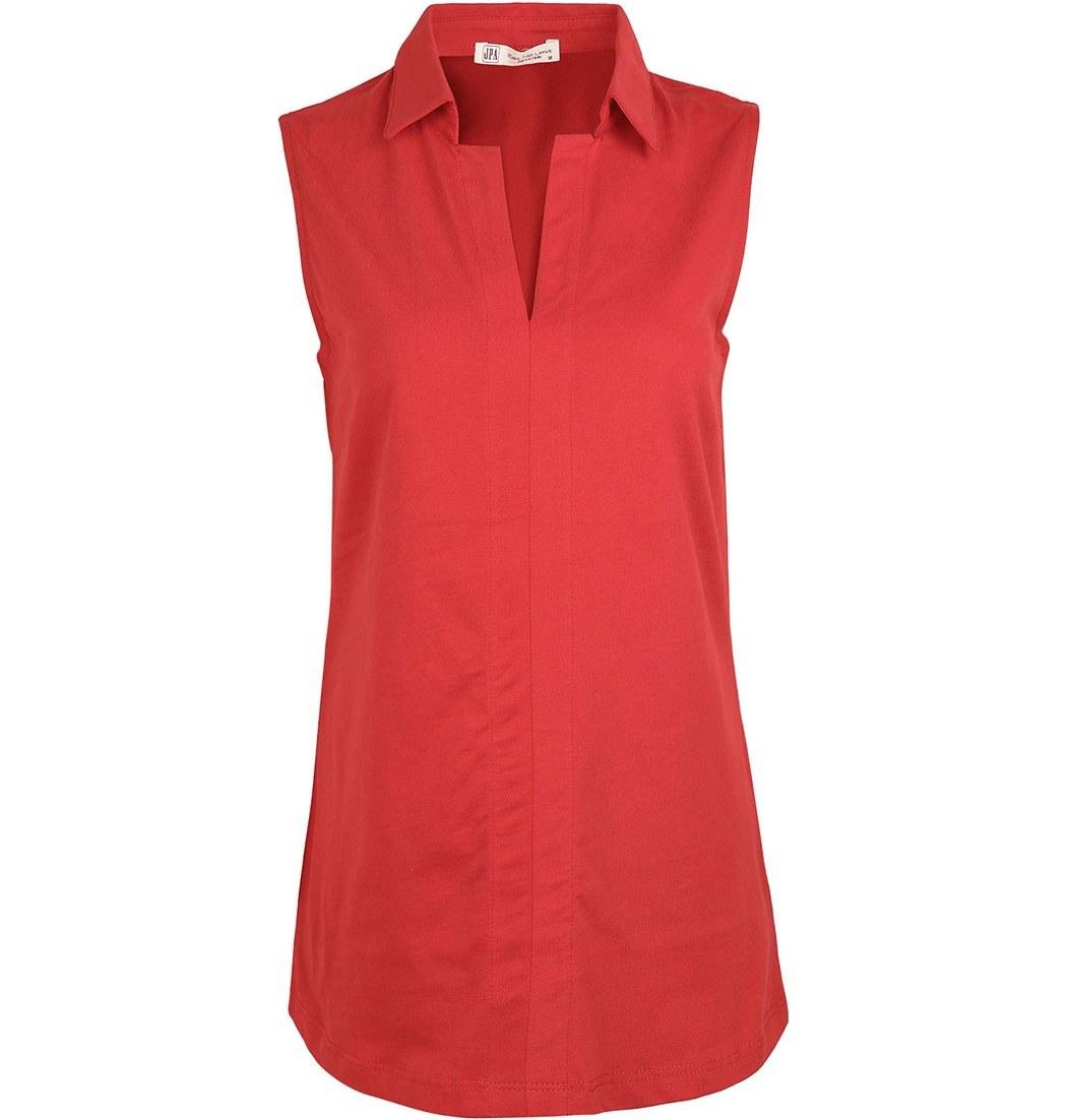 تصویر تاپ رکابی زنانه یقه تنیسی قرمزجامه پوش آرا(جی پی ای) ا Jpa Women Sleeve Sew Top Red Jpa Women Sleeve Sew Top Red