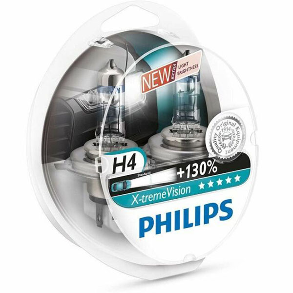 تصویر لامپ هالوژن گازی H4 مدل اکستریم ویژن – فیلیپس