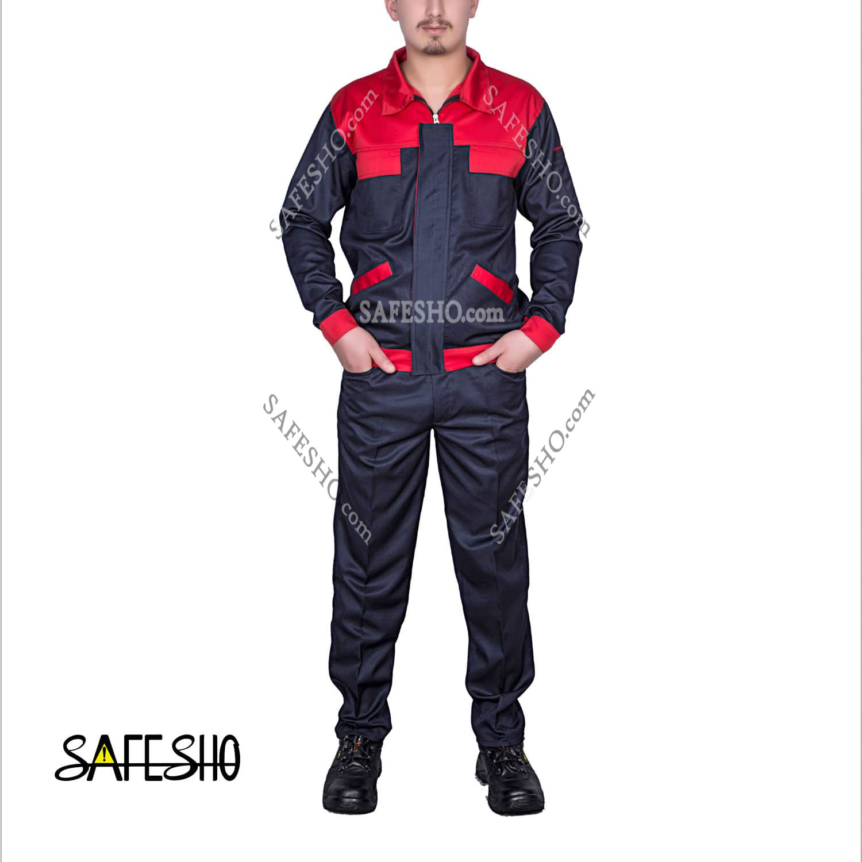 تصویر لباس کار مدل کلاسیک بی Classic B سورمه ای -قرمز