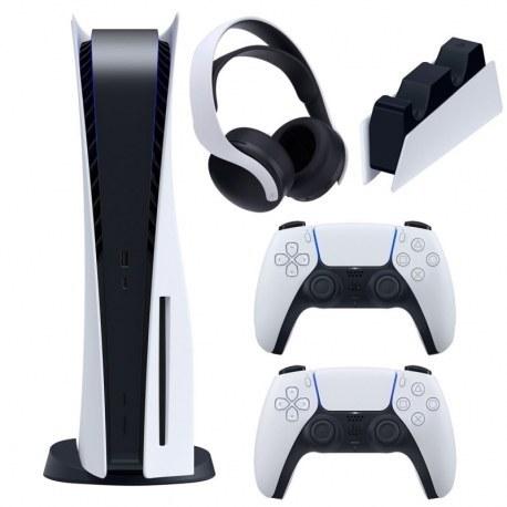 تصویر مجموعه کنسول بازی سونی مدل PlayStation 5 ظرفیت 825 گیگابایت به همراه هدست و پایه شارژر و دسته اضافه
