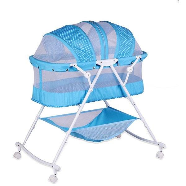 تصویر تخت کودک اسپرینگ مدل Sunny رنگ آبی