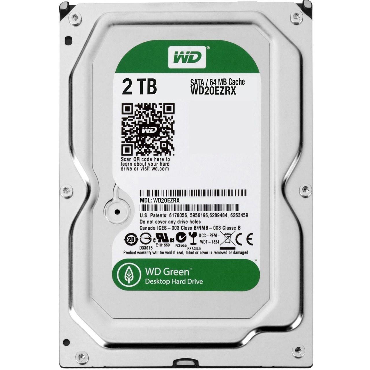 تصویر هارد اینترنال 2 ترابایت وسترن دیجیتال گرین WD20EZRX Western Digital Green Internal Hard Drive 2TB