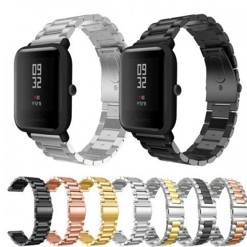 تصویر بند استیل رولکسی ساعت هوشمند شیائومی مدل Amazfit Bip / Bip S / Bip Lite / Bip U Stailess Steel Chain Strap Watchband For Xiaomi Amazfit Bip / Bip S / Bip Lite / Bip U