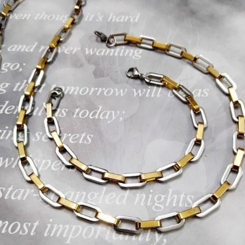 ست گردنبند و دستبند مردانه استیل اسپرت