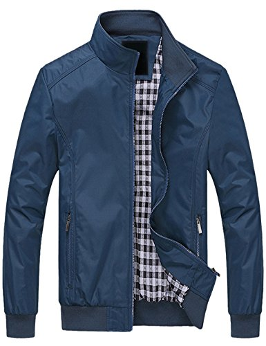 Springrain Men's Casual Stand Collar Slim PU Leather Sleeve Bomber Jacket