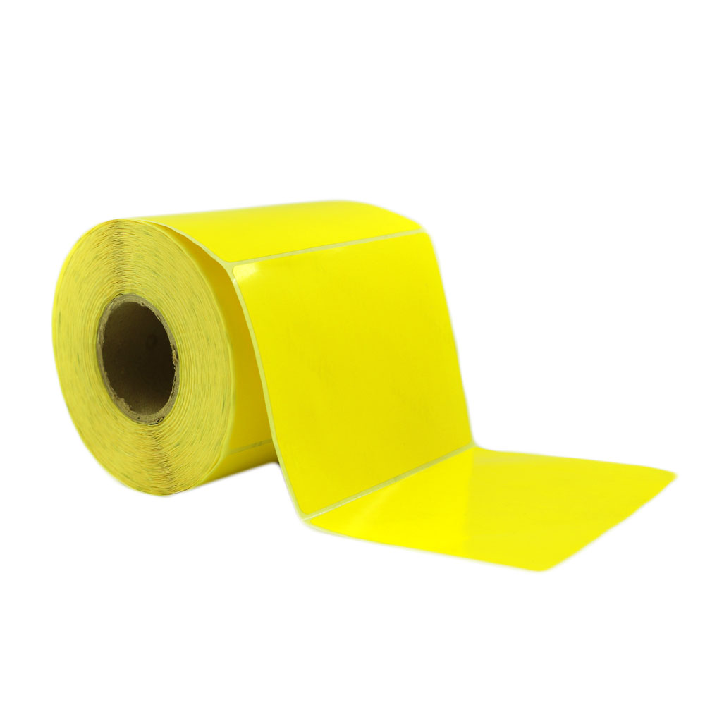 تصویر لیبل (برچسب) کاغذی زرد تک ردیفه 80×100
