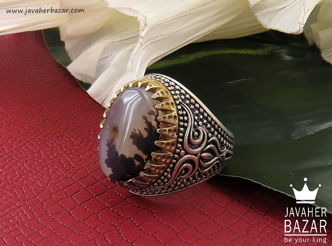 انگشتر نقره عقیق شجر شاهانه مردانه - کد 32936