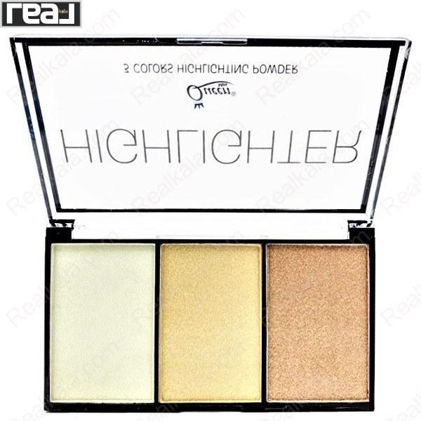 تصویر پالت هایلایتر 3 رنگ کویین شماره 1 Queen 3 Color Highlighter Powder