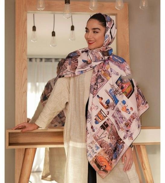 روسری توویل ابریشم دست دوز 140×140