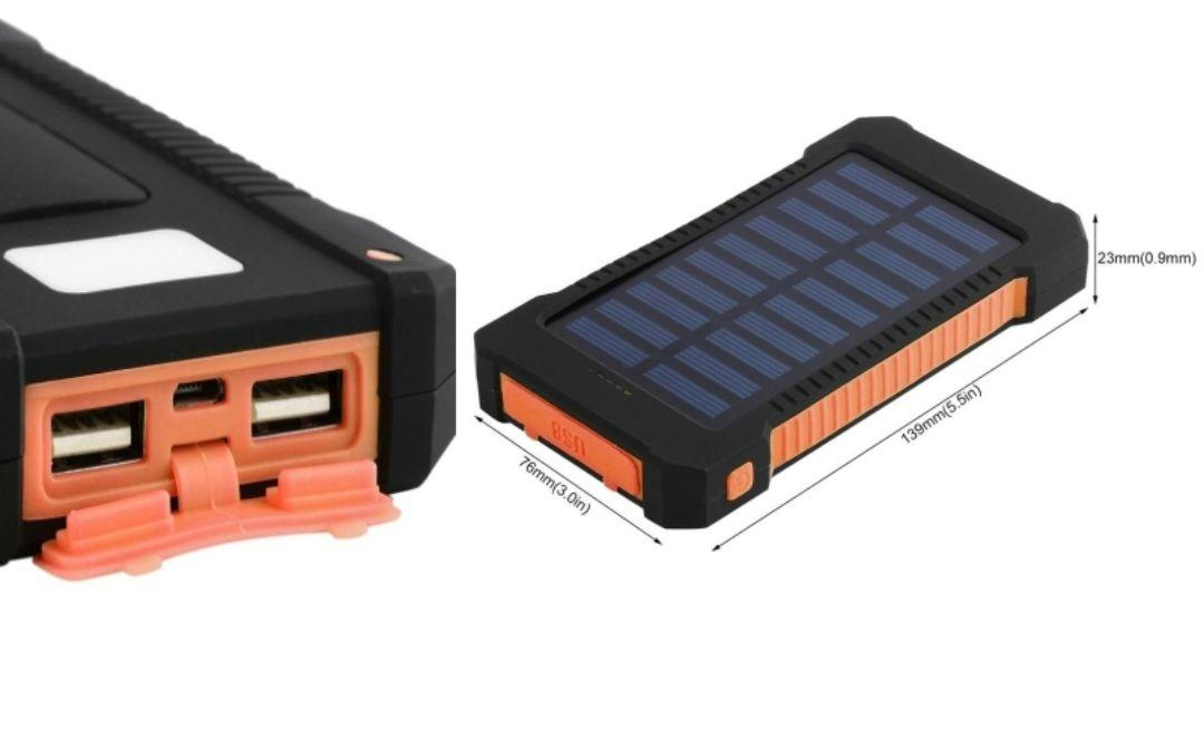 شارژر همراه خورشیدی با ظرفیت 10000میلی امپرساعت