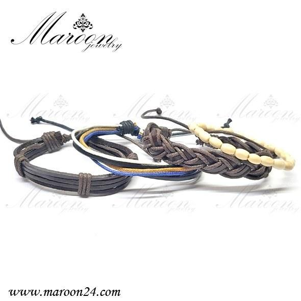 تصویر دستبند مردانه و پسرانه چهار تایی بافت مارون MM64